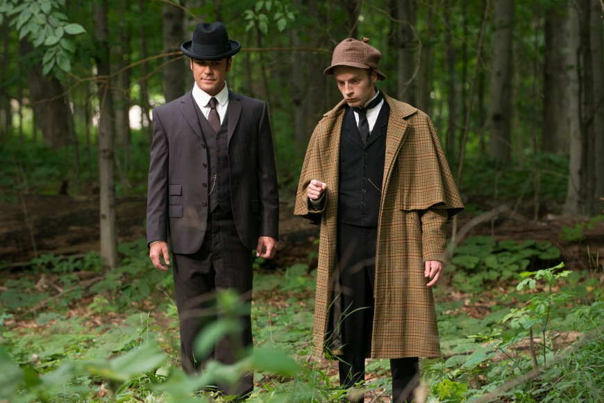 "Yannick Bisson as Detective Murdoch and Andrew Gower as Sherlock Holmes in ""The Return of Sherlock"". Copyright CBC."