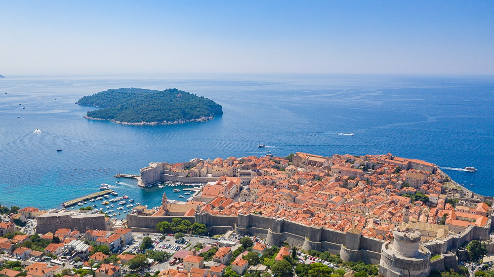 Historical center of Dubrovnik with a view to the Lokrum island,